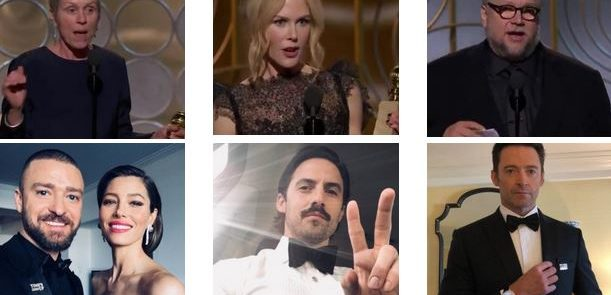 """GOLDEN GLOBES 2018"" - Frances McDormand, Nicole Kidman, Guillermo Del Toro, Justin Timberlake e Jessica Biel, Milo Ventimiglia, Hugh Jackman"