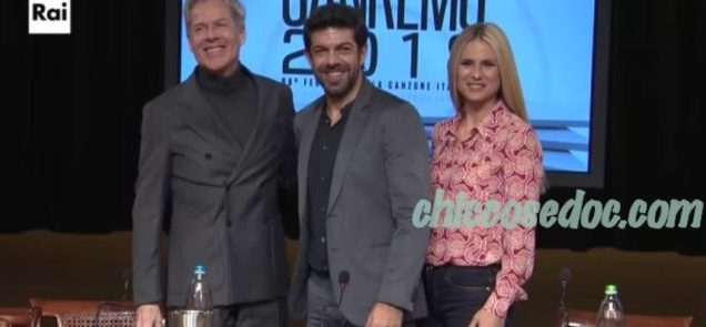 """""""SANREMO 2018"""" - Claudio Baglioni, Michelle Hunziker e Pierfrancesco Favino co-conduttori"""