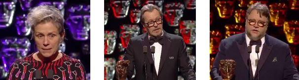 """BAFTA 2018"" - Frances McDormand, Gary Oldman, Guillermo Del Toro"