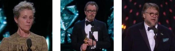"""""""OSCAR 2018"""" - Frances McDormand, Gary Oldman e Guillermo Del Toro"""