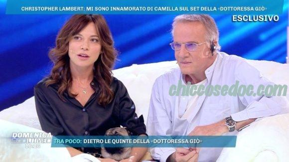 """""""DOMENICA LIVE"""" - Christopher Lambert, in studio da Barbara d'Urso, con la compagna italiana Camilla Ferranti.."""