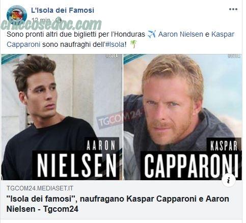 """""""ISOLA DEI FAMOSI 14"""" - Aaron Nielsen e Kaspar Capparoni ufficialmente nel cast dei naufraghi.."""