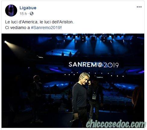 """""""SANREMO 2019"""" - Ligabue conferma la sua presenza in veste di ospite.."""