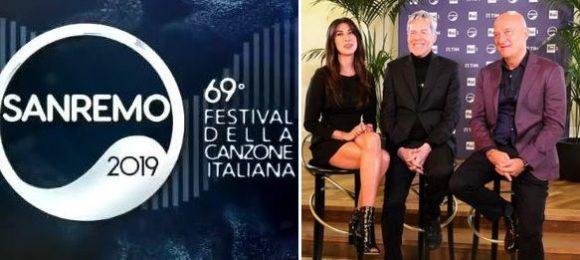 """""""SANREMO 2019"""" - La conferenza stampa con Claudio Baglioni, Virginia Raffaele e Claudio Bisio.."""