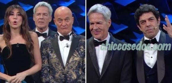 """""""SANREMO 2019"""" – Claudio Baglioni tra Virginia Raffaele, Clausio Bisio e Pierfrancesco Favino. E con di Claudio Santamaria.."""