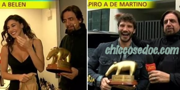 """""""STRISCIA LA NOTIZIA"""" - Valerio Staffelli porta due distinti tapiri d'oro a Belen Rodriguez e Stefano De Martino.."""
