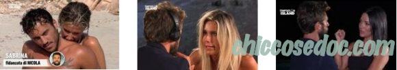 """""""TEMPTATION ISLAND 6"""" - Nicola Tedde, poi confortato dalla single Maddalena, si è separato dalla fidanzata Sabrina Martinengo.. che aveva dovuto incassare anche il """"No"""" di Giulio Raselli.."""