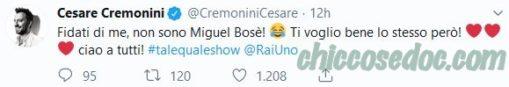 """""""TALE e QUALE SHOW 2019"""" - Il commento cinguettato da Cesare Cremonini su Francesco Monte"""