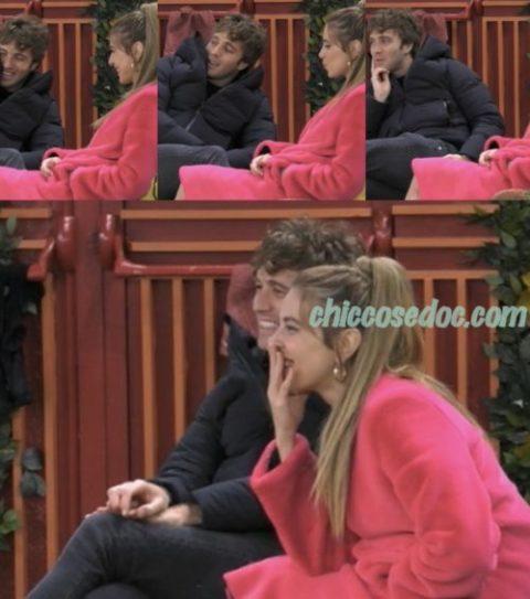 """""""GRANDE FRATELLO VIP 4"""" - Clizia Incorvaia, salvata nel gioco dal collega Paolo Ciavarro, fa l'alba con lui in giardino.."""