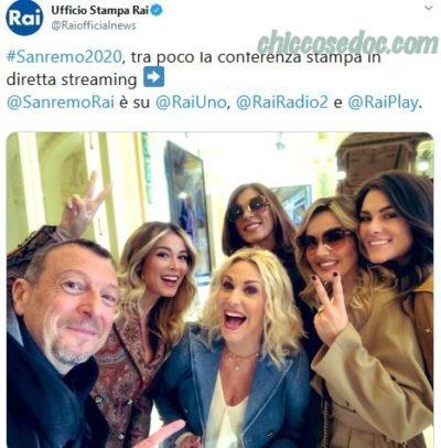 """""""SANREMO 2020"""" - La conferenza stampa di presentazione con Amadeus.. Antonella Clerici, Diletta Leotta, Francesca Sofia Novello, Emma D'Aquino e Laura Chimenti.."""