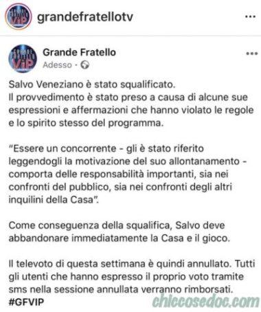 """""""GRANDE FRATELLO VIP 4"""" - La squalifica decretata per Salvo Veneziano.."""