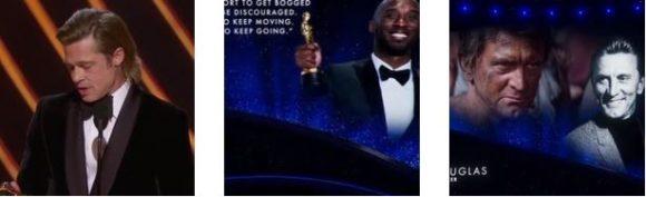 """""""OSCAR 2020"""" - Brad Pitt ritira la statuetta come """"miglior attore non protagonista"""". Ed i tributi resi a Kobe Bryant e Kirk Douglas.."""