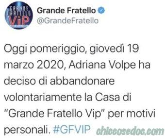 """""""GRANDE FRATELLO VIP 4"""" – Adriana Volpe costretta a lasciare per motivi personali"""