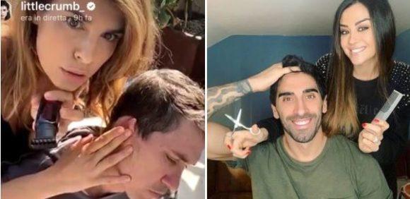 Elisabetta Canalis e Giorgia Palmas, in tempo di quarantena a casa, si improvvisano hairstylists in diretta per i rispettivi consorti.. Brian Perri e Filippo Magnini