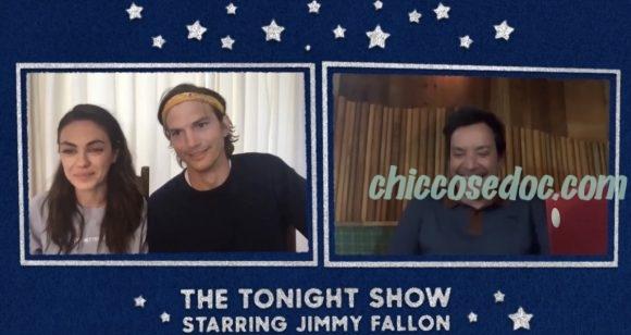 """La chiacchierata della coppia Mila Kunis ed Ashton Kutcher con il conduttore del """"The Tonight Show"""", Jimmy Fallon.."""