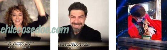 """""""DAVID DI DONATELLO 2020"""" - Vincono Valeria Golino, """"Il Traditore"""" di Marco Bellocchio premiato anche per la regia.. ed il suo protagonista Pierfrancesco Favino, festeggiato """"live"""" dalla compagna Anna Ferzetti. E il riconoscimento alla carriera assegnato a Franca Valeri.."""