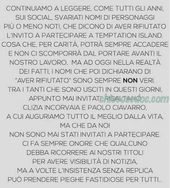 """""""TEMPTATION ISLAND"""" - Il comunicato contro Paolo Ciavarro e la fidanzata Clizia Incorvaia.."""