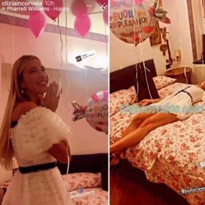 """<b>""""GRANDE FRATELLO VIP 4"""" - Paolo Ciavarro sorprende la fidanzata Clizia Incorvaia per il suo compleanno....  Fonte: Instagram Stories</b>"""